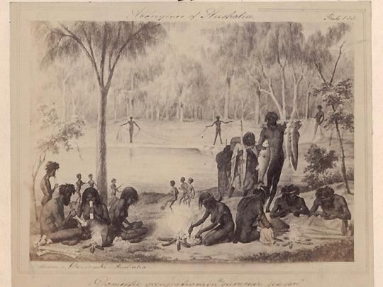 An 1857 image by Gustav Mutzel near Mildura depicting children playing kick to kick with a spherical object.