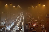 Vehicles drive on the Third Ring Road on a very hazy winter day in Beijing January 12, 2013.