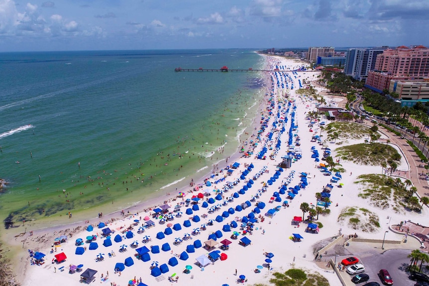 A drone shot of lots of blue umbrellas on a beach