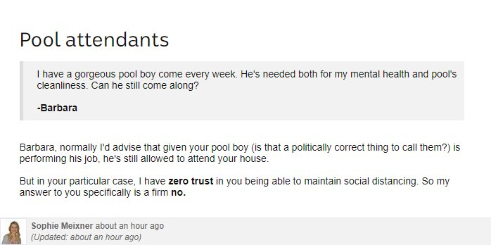 "Blog question about pool boy and Sophie answer ""I have zero trust in you being able to maintain social distancing""."