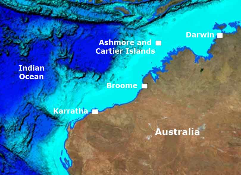 A map showing the location of Ashmore Reef.