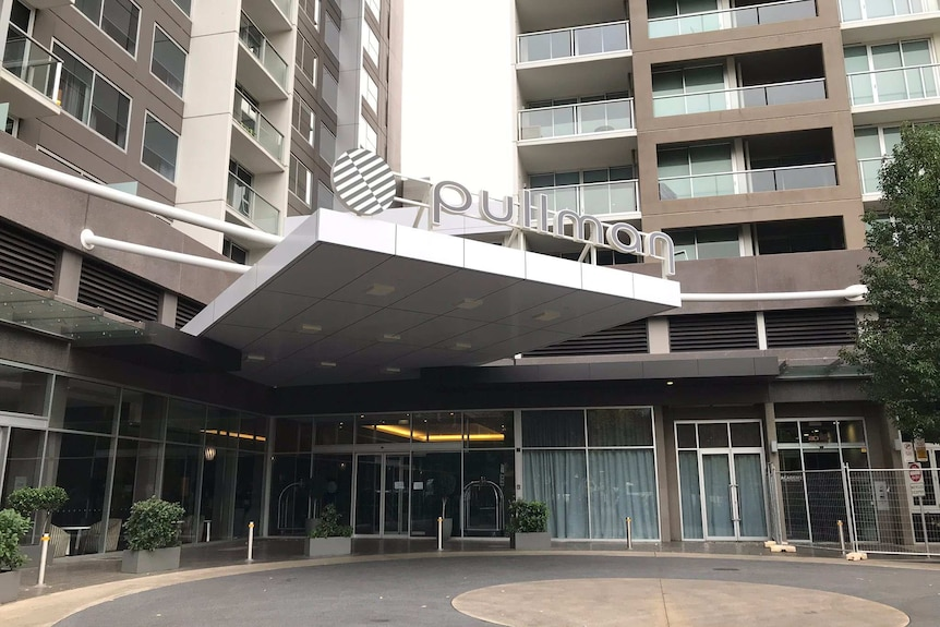 The front of the Pullman Hotel in Adelaide's Hindmarsh Square.