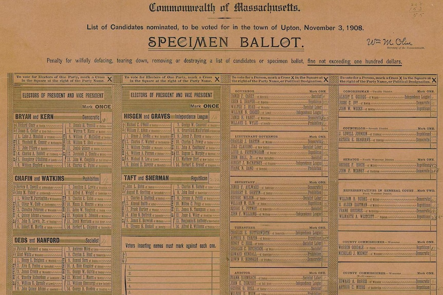 An election ballot with many names and at least 15 different races.