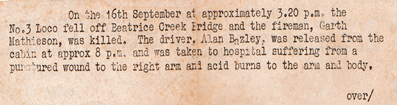 An old newsletter announces a loco crash which killed Garth Mathieson and injured driver Alan Bazley