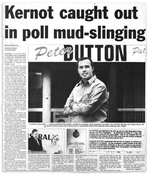A newspaper clipping shows an article titled 'Kernot caught out in poll mud-slinging' with a photo of Peter Dutton