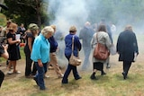 Constitutional reform meeting participants take part in the smoking ceremony Risdon Cove, December 9, 2016
