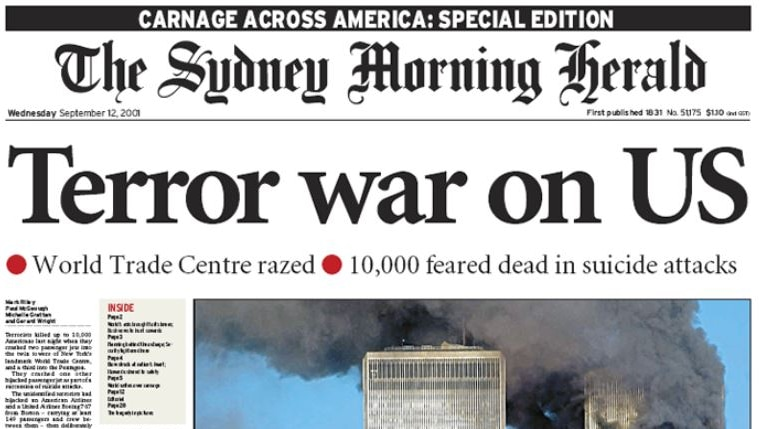 Frontpage of the SMH on September 12, 2001.