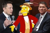 Composite of Elon Musk, Corey Bernadi and the Monorail Salesman