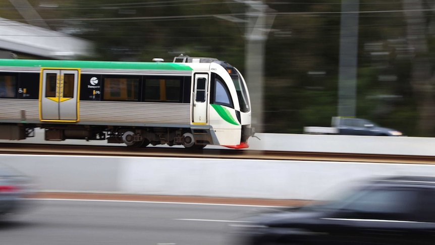 Motion shot of a Transperth train