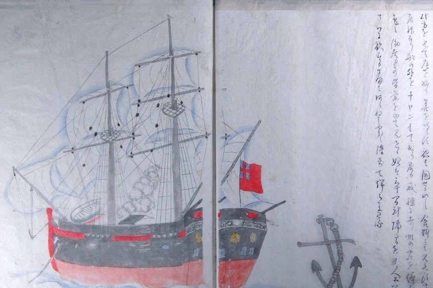 An illustration of the arrival of the foreign ship by Makita Hamaguchi in 1830.
