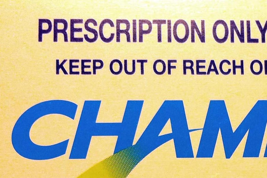 A close-up of the label on a box of Champix tablets, an anti-smoking drug.