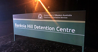 A sign outside Banksia Hill Detention Centre.