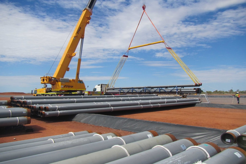 The Northern Gas Pipeline is being stockpiled in Tennant Creek