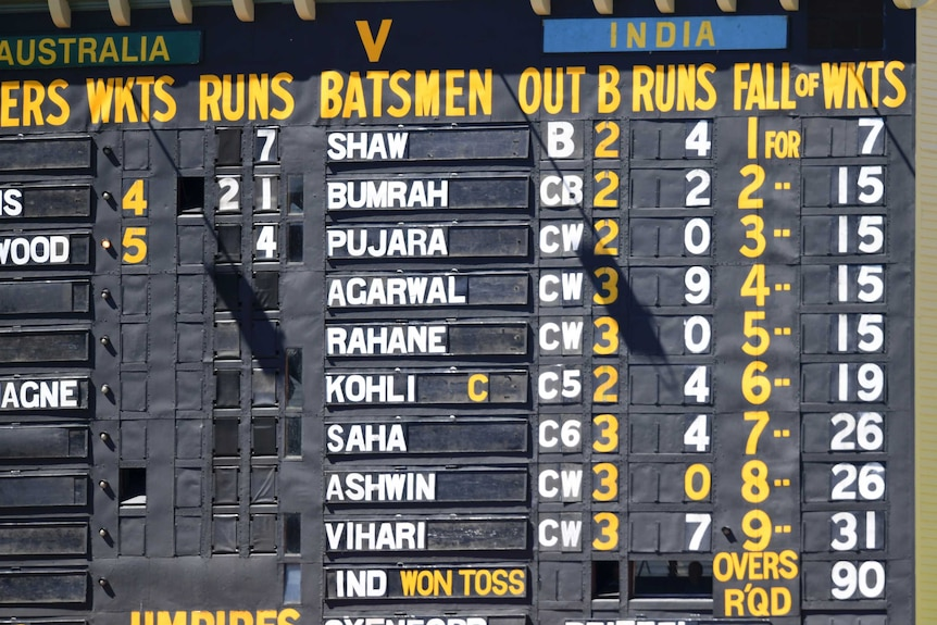 The Adelaide Oval scoreboard showing India's terrible innings.