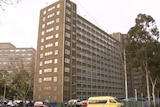 The exterior of a public housing tower in the Melbourne suburb of Carlton.