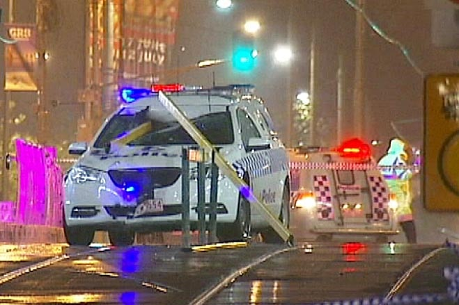 The police divisional van crashed into a tram pedestrian barrier at Federation Square.