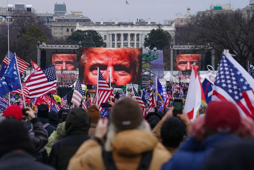 Trump supporters participate in a rally outside the White House