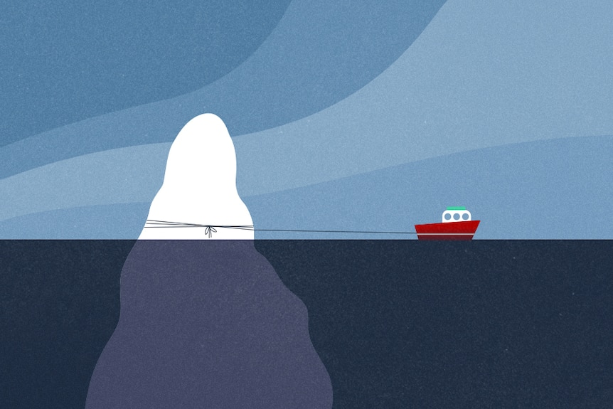 Illustration of iceberg being towed by small boat with blue water and blue sky.