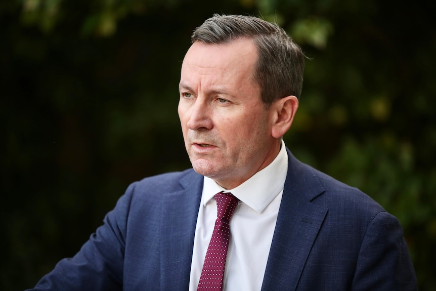 A head and shoulders shot of WA Premier Mark McGowan talking during a media conference.