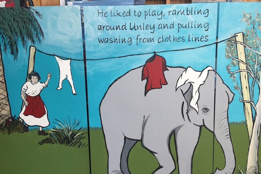 A painting of an elephant being chastised for pulling washing from a line