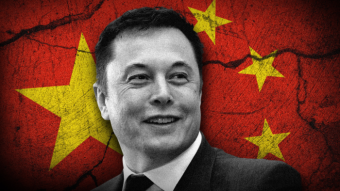 Elon Musk in black and white with Chinese flag in the background.