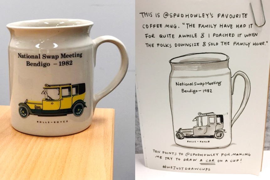 """Mug with a picture of a Rolls Royce next to a black and white sketch of the mug with text: """"The family have had it for a while"""""""