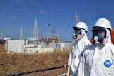 Tokyo Electric Power Co (TEPCO) workers stand near the stricken Fukushima Dai-ichi nuclear power plant