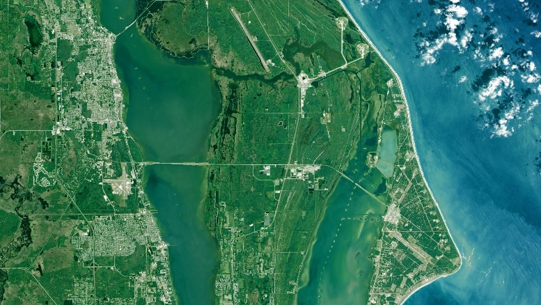 Aerial view of NASA's Kennedy Space Centre and the Cape Canaveral Air Force base imaged by the Landsat 8 satellite
