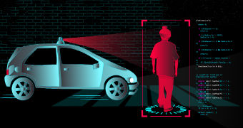 A digital image of a blue car and a boy outlined by a red square, with computer code scrolling down the side.