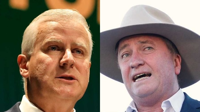 A composite image of Michael McCormack and Barnaby Joyce.