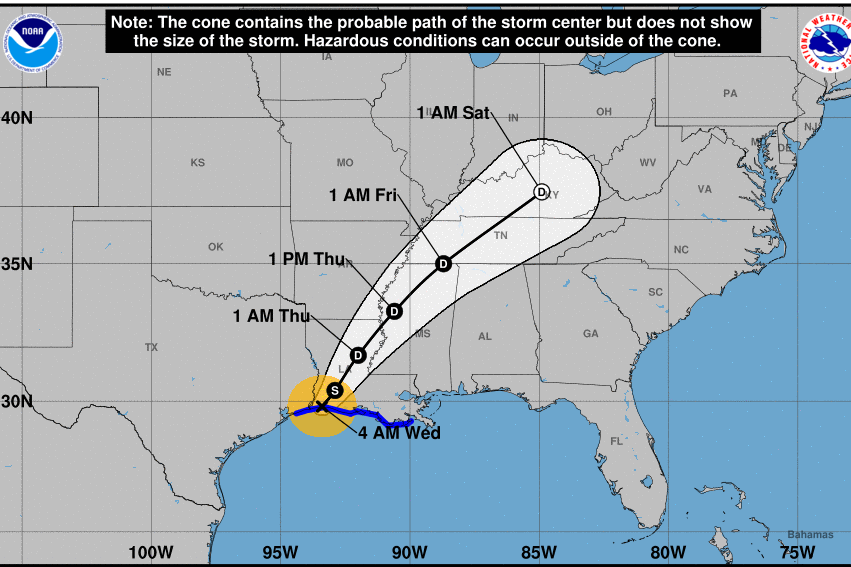 Graph showing the expected path of Hurricane Harvey.