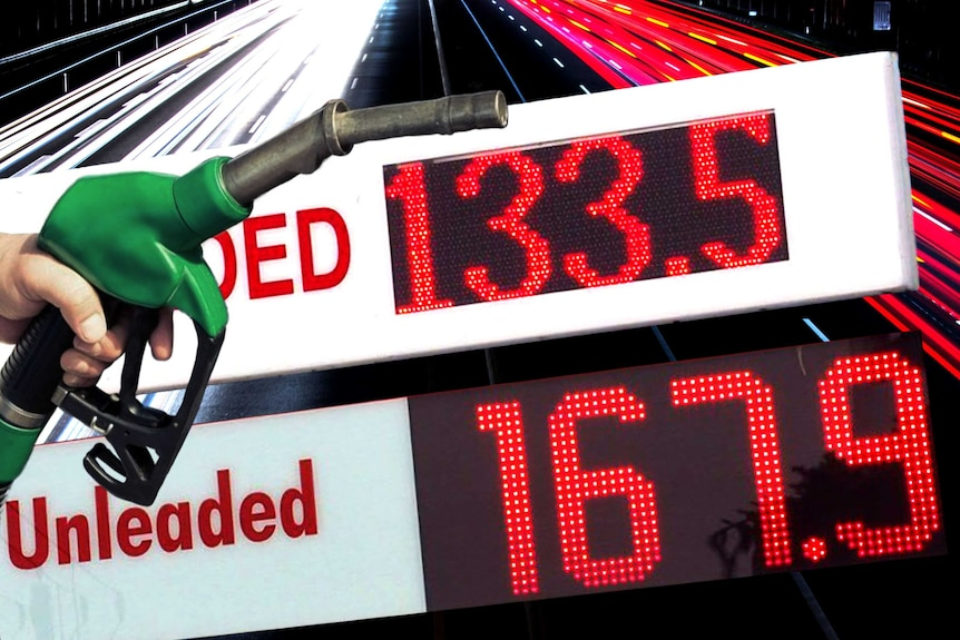 Image of a fuel pump with two petrol prices at a 30 cent difference.