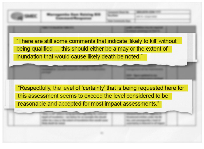 Excerpts show the ecologist was urged to replace the finding of 'likely to kill' with 'may' in the draft EIS.