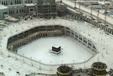 view showing the Grand Mosque, at the Muslim holy city of Mecca virtually empty, in Saudi Arabia.