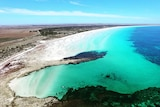 An ocean bay with white sand and turquoise water taken from above.