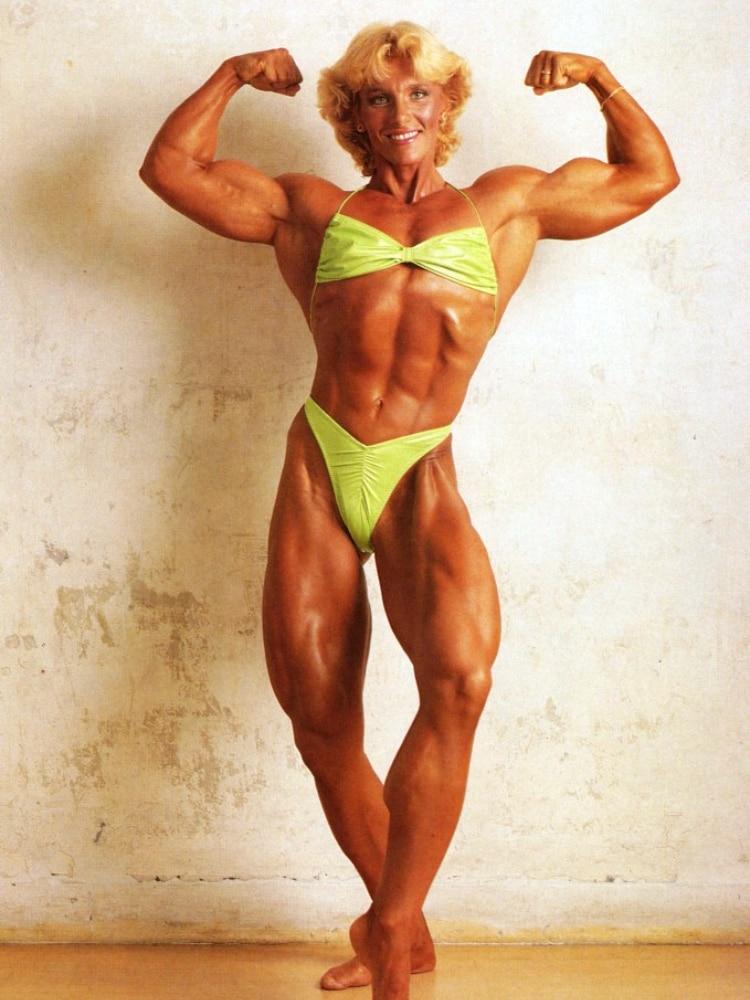 Bev Francis pulls a pose while wearing a bikini.