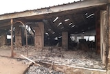 A building completely destroyed by fire