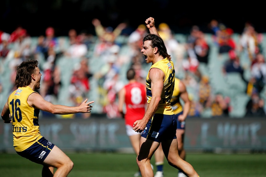 Two football players with mullet haircuts celebrate on an oval.