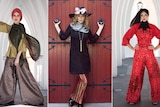 Three models show off a range of stylish outfits covering most of their bodies.