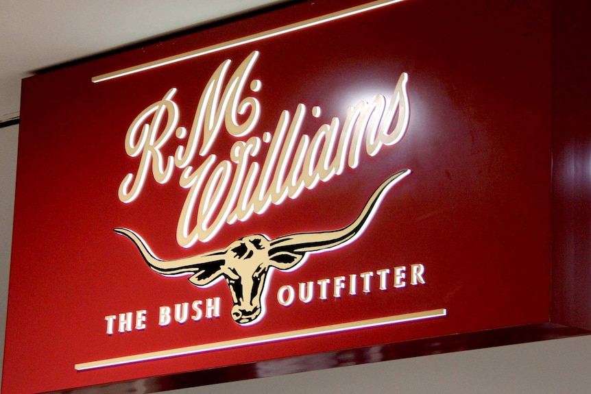 An RM Williams store sign.