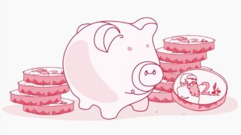 A pig surrounded by $2 coins
