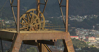 The headframe at the Mount Lyell mine in Queenstown.