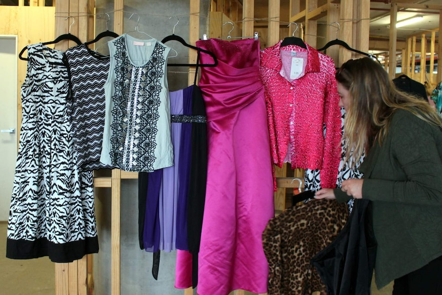 Items on display at a Canberra clothes swap.