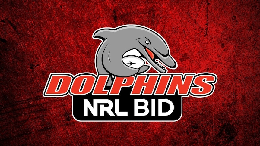 An image associated withthe Redcliffe Dolphins' NRL bid, depicting a dolphin holding a rugby league ball.