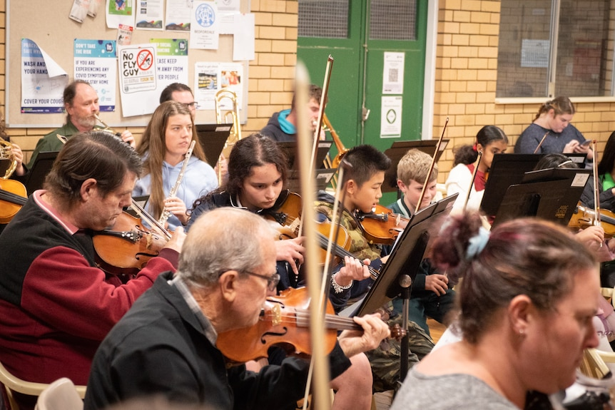 Children and adults play side by side in an orchestra.