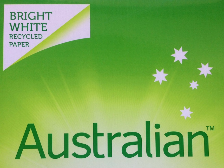 Australian Paper logo on a ream of recycled paper