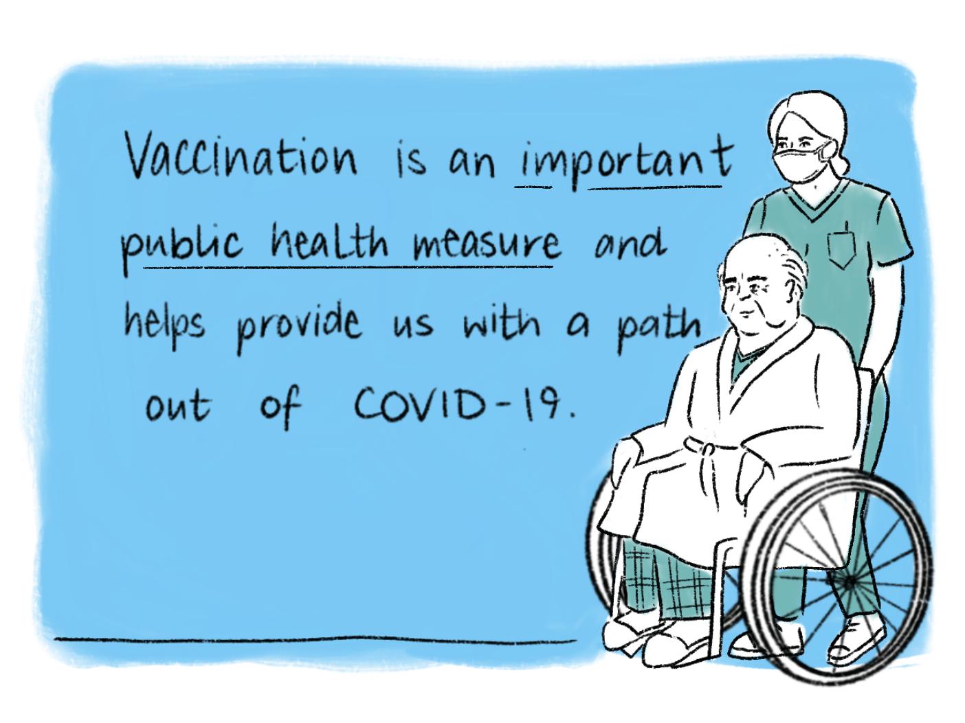 Vaccination comic scene 2. Read the transcript below.