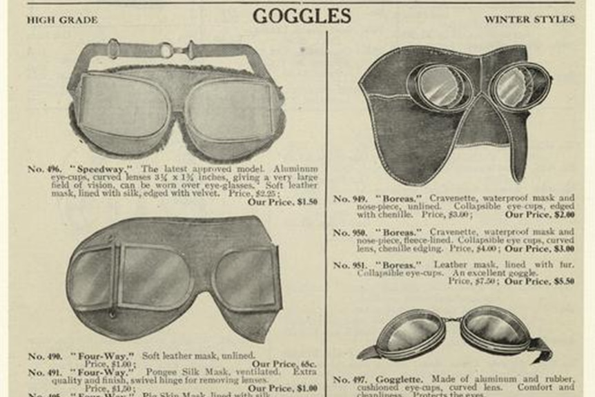 A print advertisement from 1907 showing a selection of goggles, most of which would mask much of the face.