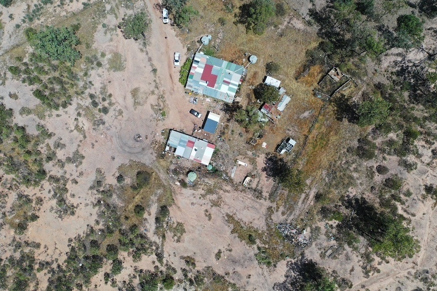 A drone shot of a rural property.