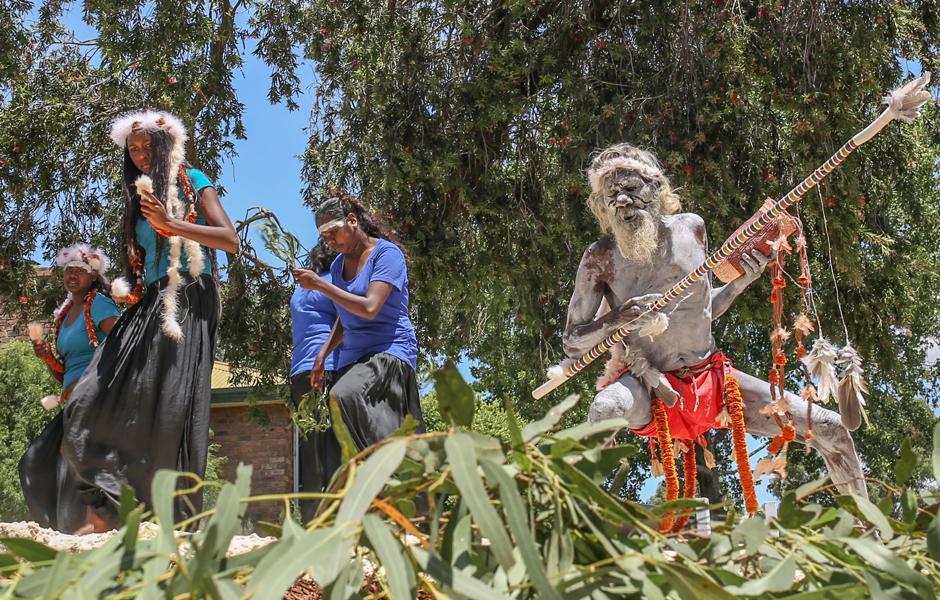Aboriginal elder Gali Yalkarriwuy Gurruwiw dancesi with his granddaughter Sasha Mulungunhawuy Yumbulul